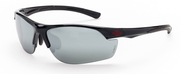 Crossfire AR3 Safety Glasses with Shiny Black Frame and Silver Mirror Lens