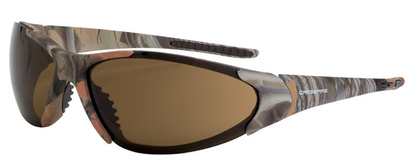 Crossfire Core Safety Glasses with Woodland Brown Camo Frame and HD Brown Lens