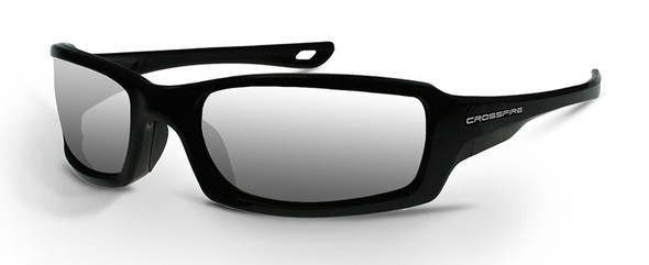 Crossfire M6A Safety Glasses with Pearl Black Frame and Silver Mirror Lens