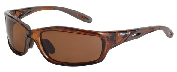 Crossfire Infinity Safety Glasses with Crystal Brown Frame and HD Brown Polarized Lens 21126