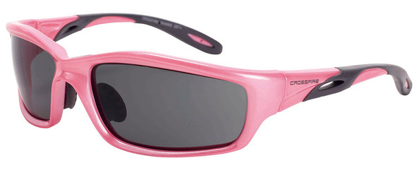 Crossfire Infinity Safety Glasses with Pearl Pink Frame and Dark Smoke Lens