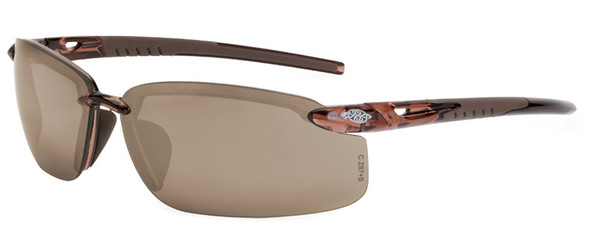 Crossfire ES5 Safety Glasses with Crystal Brown Frame and HD Brown Flash Mirror Lens
