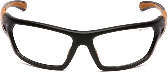 Carhartt Carbondale Safety Glasses with Black Frame and Clear Anti-Fog Lens CHB210DT Front