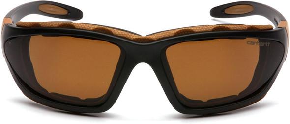 Carhartt Carthage Safety Glasses/Goggles Black Frame Sandstone Bronze Anti-Fog Lens CHB418DTP Front