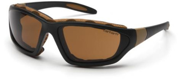 Carhartt Carthage Safety Glasses/Goggles Black Frame Sandstone Bronze Anti-Fog Lens CHB418DTP