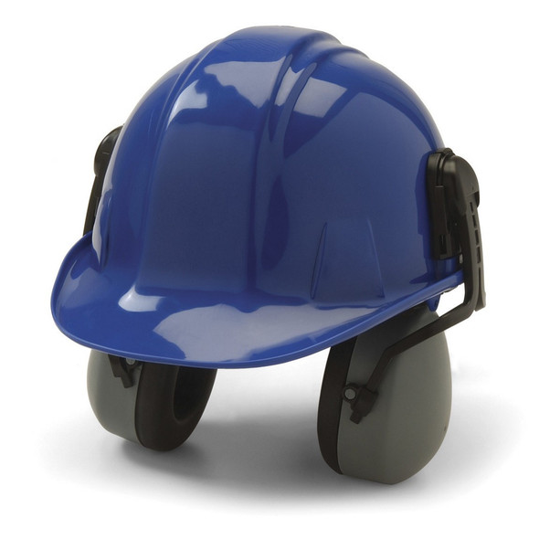 Pyramex CM6010 Gray Cap Mount Ear Muff, NRR 27 CM6010 Installed On Hard Hat