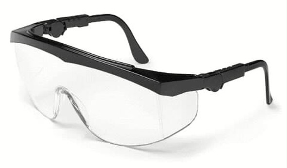 Crews Tomahawk Safety Glasses With Black Frame and Clear Anti-Fog Lens TK110AF