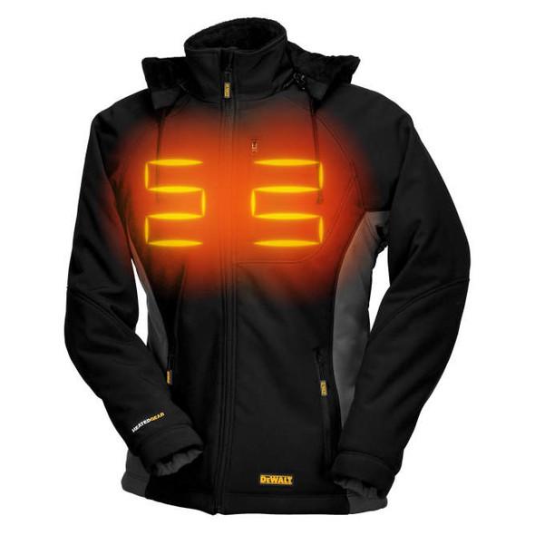 DEWALT® Women's Heated Soft Shell Coat DCHJ066C1 Front Heat Zone