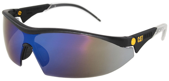 CAT Digger Safety Glasses with Black Frame and Blue Mirror Lens DIGGER-105