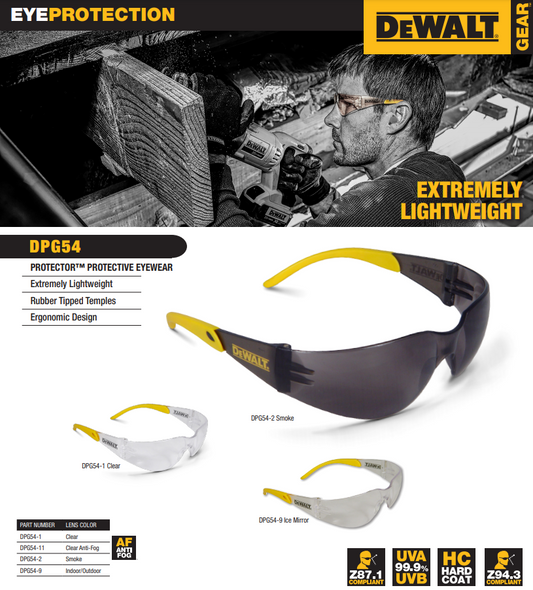 DEWALT Protector Safety Glasses with Smoke Lens DPG54-2D Key Features