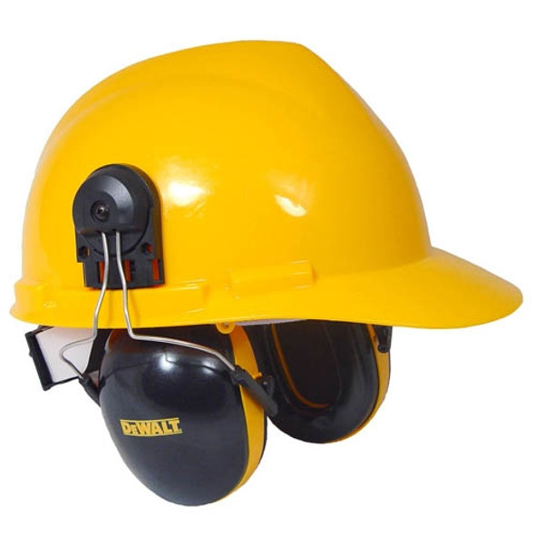 DeWalt Cap Mount Interceptor Ear Muffs DPG66-D Installed On Hard Hat