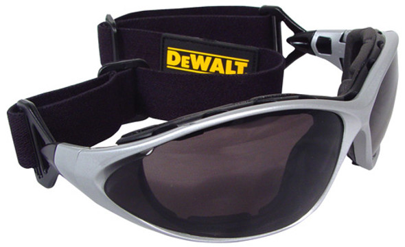 DEWALT Framework Interchangeable Safety Goggles with Smoke Lens DPG95-2D With Goggle Strap Installed