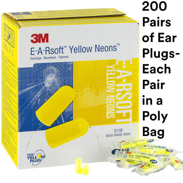 EAR Yellow Neons 312-1250 Uncorded Earplugs NRR-33 Box 200 Pairs