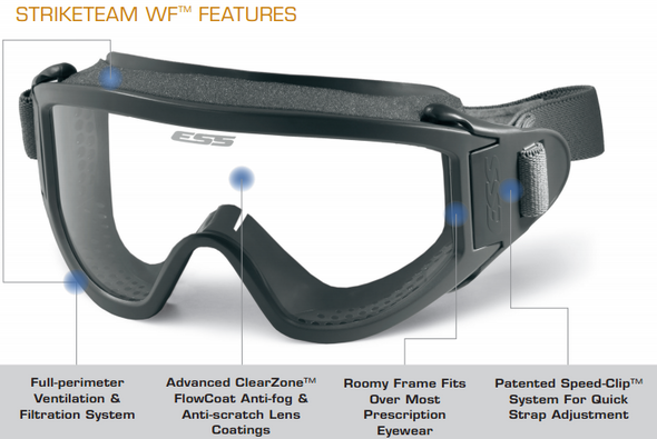 ESS Striketeam WF Goggles 740-0236 Features