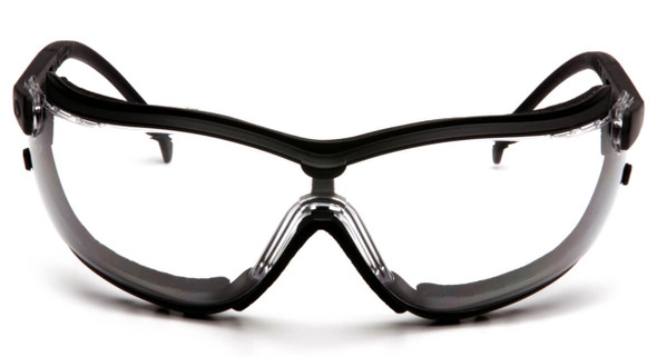 Pyramex V2G Safety Glasses/Goggles with Black Frame and Clear Anti-Fog Lens - Front