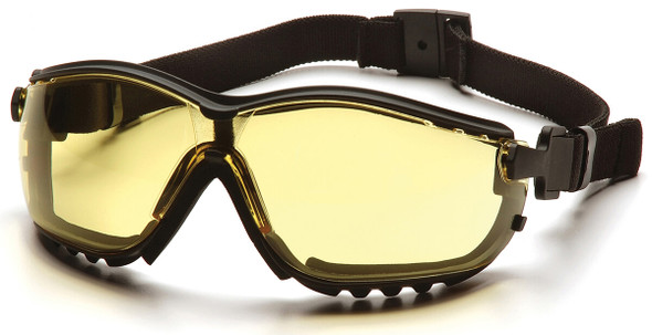 Pyramex V2G Safety Glasses/Goggles with Black Frame and Amber Lens