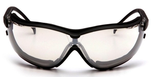Pyramex V2G Safety Glasses/Goggles with Black Frame and Indoor/Outdoor Anti-Fog Lens - Front
