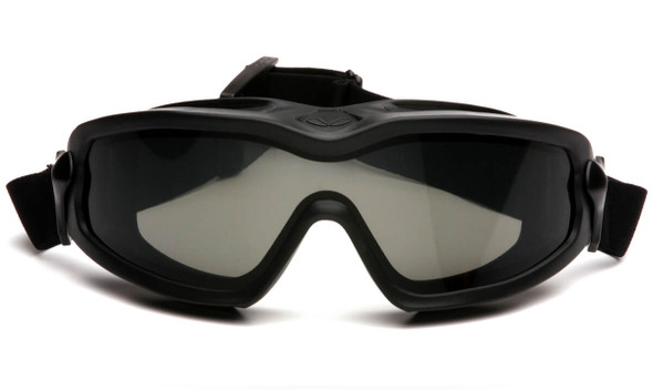 Pyramex V2G Plus Safety Goggle with Black Frame and Dual Gray Anti-Fog Lens - Front