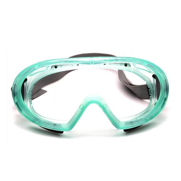 Pyramex Capstone Safety Goggles Green Frame Clear Anti-Fog Lens GC504TN Front