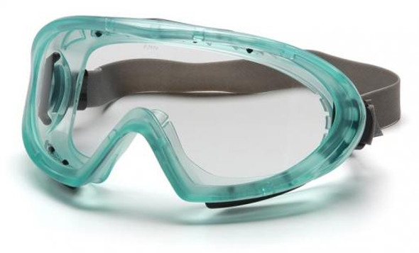 Pyramex Capstone Safety Goggles Green Frame Clear Anti-Fog Lens GC504TN