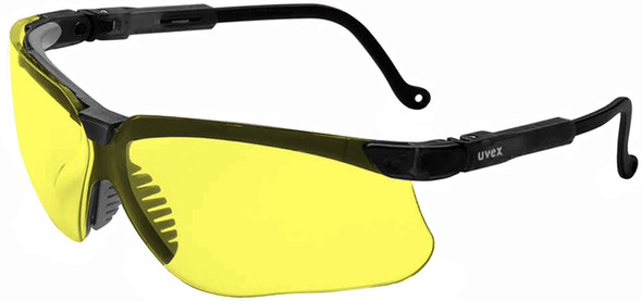 Uvex Genesis Safety Glasses with Black Frame and Amber Lens S3202