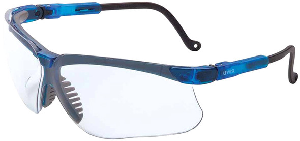 Uvex Genesis Safety Glasses with Vapor Blue Frame and Clear Lens S3240