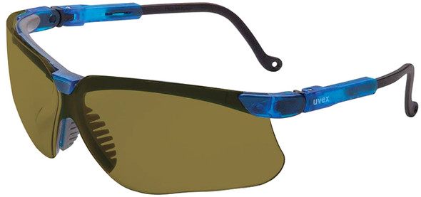 Uvex Genesis Safety Glasses with Vapor Blue Frame and Espresso Lens S3241