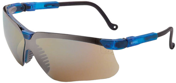 Uvex Genesis Safety Glasses with Vapor Blue Frame and Mirror Lens S3243