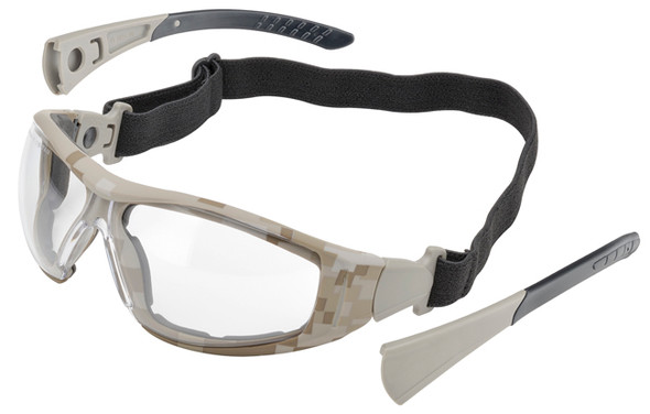 Elvex Go-Specs II Safety Glasses/Goggles with Desert Camo Frame, Foam Seal and Clear Anti-Fog Lens GG-45CAF-CAMO
