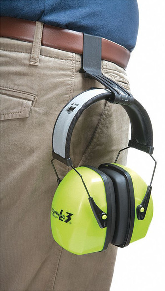 Howard Leight Slim Belt Clip Accessory for Ear Muffs in use