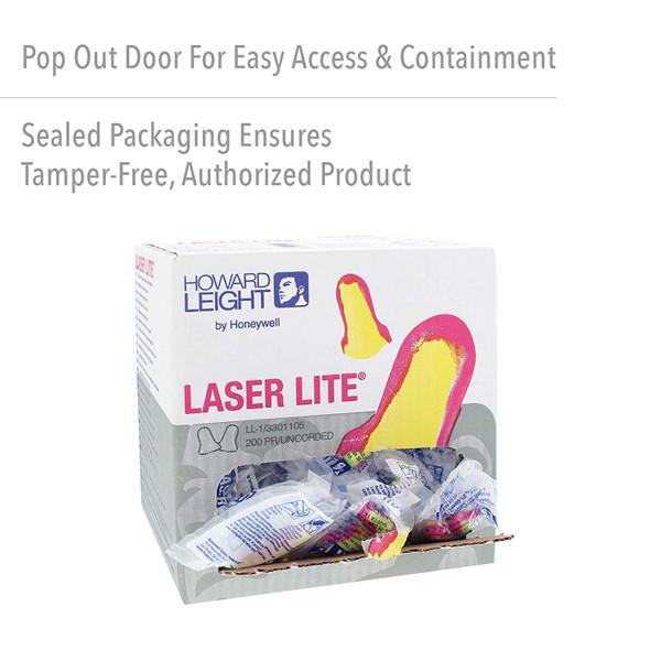 Howard Leight Laser Lite Uncorded Ear Plugs NRR 32 200-Pr Box