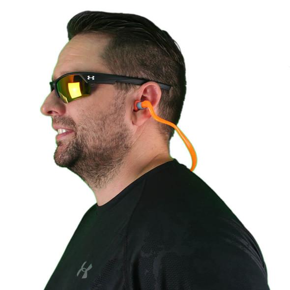 Howard Leight Quiet Bands-2 Supra-Aural Banded Ear Plug, NRR 25 - HL-QB2HYG - Model Side Wearing