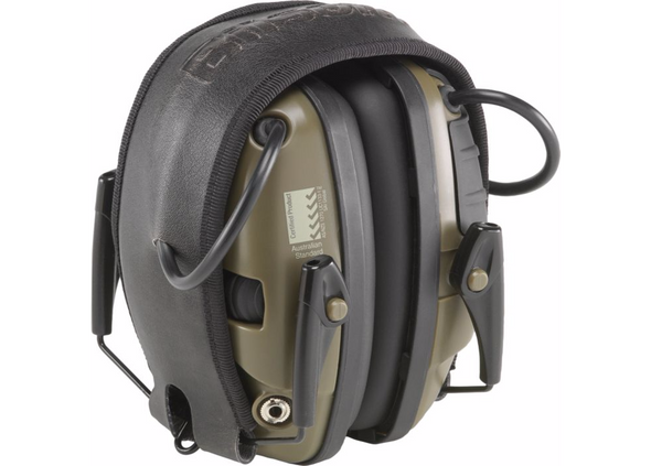 Howard Leight Impact Sport Electronic Ear Muff NRR 22, Classic OD Green Folded