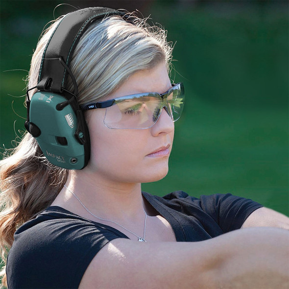 Impact Sport Sound Amplification Electronic Earmuff, Teal - R-02521 Worn by Model