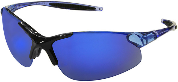 Radians Rad-Infinity Safety Glasses with Blue Frame and Blue Mirror Lens