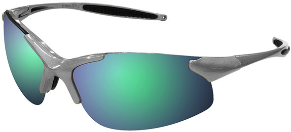 Radians Rad-Infinity Safety Glasses with Silver Frame and Green Mirror Lens