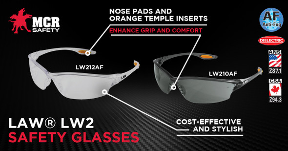 Crews Law 2 Safety Glasses with Clear Anti-Fog Lens LW210AF Key Features