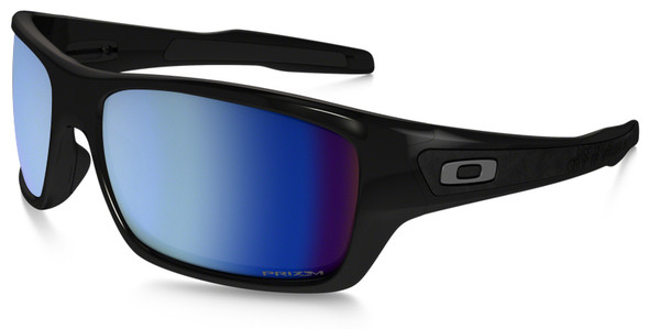 Oakley Turbine Sunglasses with Polished Black Frame and Prizm Deep Water Polarized Lens