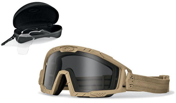 Oakley SI Ballistic Goggle 2.0 Array with Bone Frame and Clear and Grey Lenses