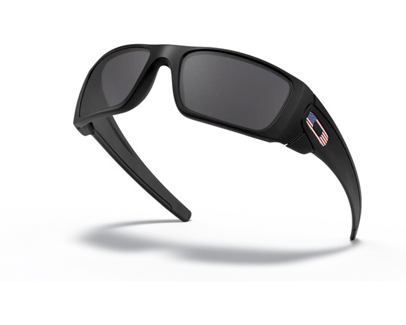 Oakley SI Fuel Cell with Matte Black Frame and US Flag Grey Lens OO9096-38 Profile View