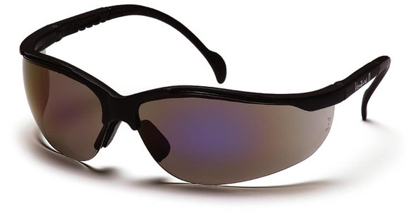 Pyramex Venture 2 Safety Glasses with Black Frame and Blue Mirror Lens