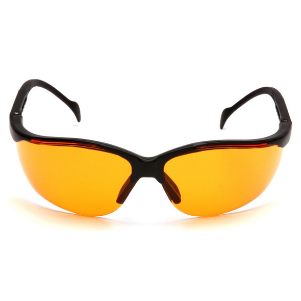 Pyramex Venture 2 Safety Glasses Black Frame Orange Lens SB1840S Front View