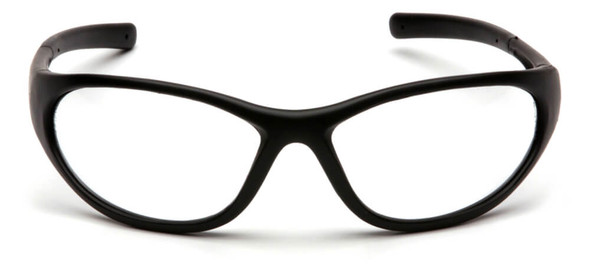 Pyramex Zone 2 Safety Glasses with Black Frame and Clear Lens - Front