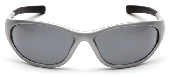 Pyramex Zone 2 Safety Glasses with Silver Frame and Gray Lens - Front