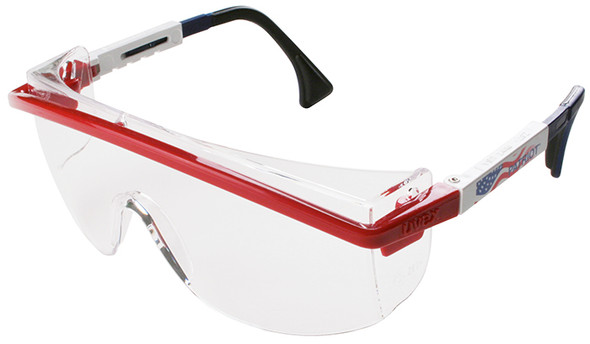 Uvex Astrospec 3000 Safety Glasses with Patriot RWB Frame/Duoflex Temples and Clear XTR Anti-Fog Lens