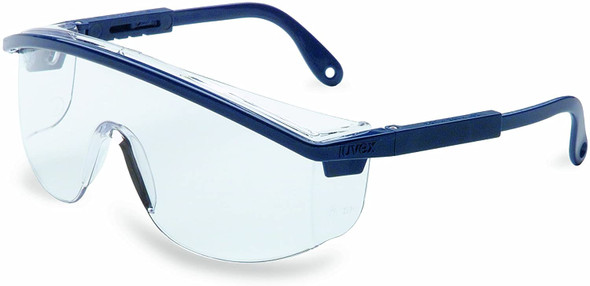 Uvex Astrospec 3000 Safety Glasses Blue Frame/Duoflex Temples Clear XTR Anti-Fog Lens S1299C