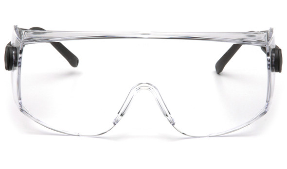 Pyramex Defiant Jumbo Overspecs Safety Glasses Black Frame Clear Lens SB1010SJ Front