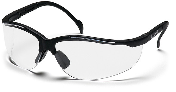 Pyramex Venture 2 Safety Glasses Black Frame Clear Anti-Fog Lens SB1810ST