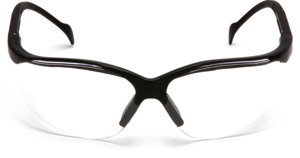 Pyramex Venture 2 Safety Glasses Black Frame Clear Anti-Fog Lens SB1810ST Front View