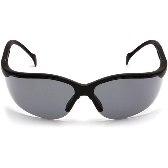 Pyramex Venture 2 Safety Glasses Black Frame Gray Anti-Fog Lens SB1820ST Front View